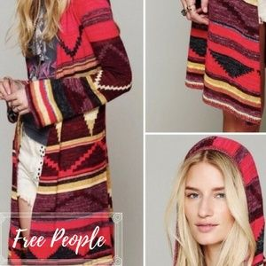 Free People Aztec Lima Duster Cardigan Hooded SM